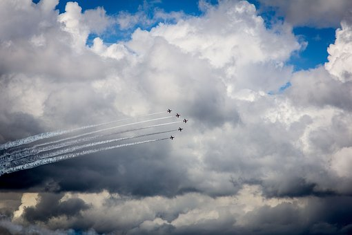 Clouds, Blue Sky, Red Arrows, Planes, Airplane