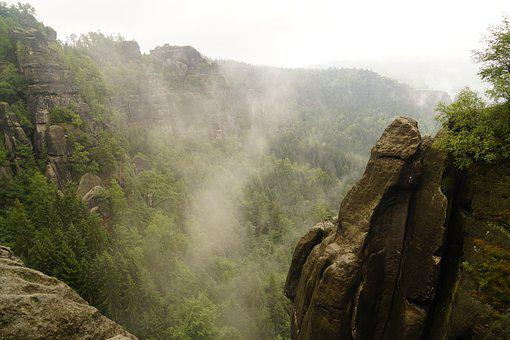 Rock, Clouds, Forest, Elbe Sandstone Mountains