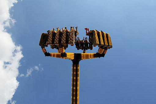 Fair, Driving Device, Over Head, Upside Down, Sky, Blue