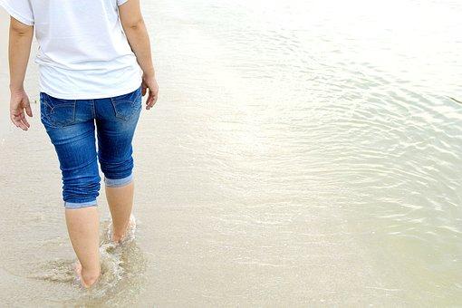 Beach, Sea, Sand, Walking, Woman, Water, Ocean, Feet