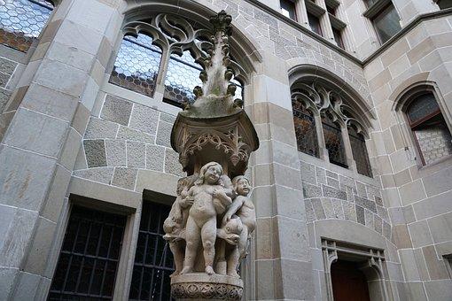 Fraumünster, Church, Zurich, Fountain, Summer, Figure