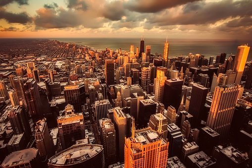 Chicago, Sky, Clouds, City, Urban, Downtown