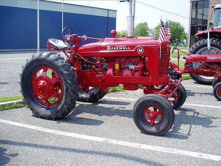 Tractor, Antique, Red, Old, Farm, Vintage, Agriculture