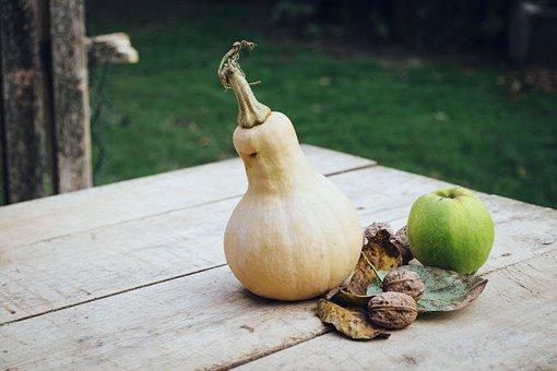 Pumpkin, Apple, Autumn, Outside, Outdoors, Desk, Garden