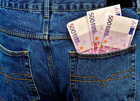 Money, Euro, Jeans, Pocket, Back Pocket, Currency