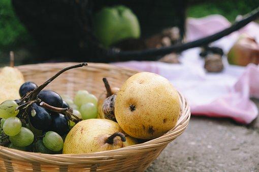 Fruit, Basket, Harvest, Grape, Autumn, Apple, Outdoors