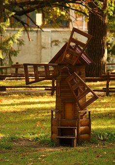 Decorative Windmill, Mill, Park, Stroll, Summer