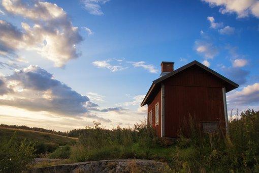Red, Hut, Evening, Sunset, House, Summer, Cottage