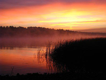 Sunrise, River, Backwater, Quiet River, Sky, Morning
