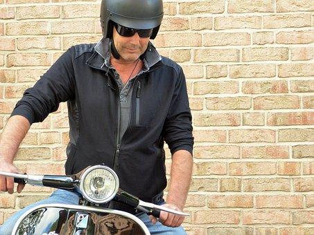 Man, Vespa, Roller, Motor Scooter, Vehicle, Motorcycle