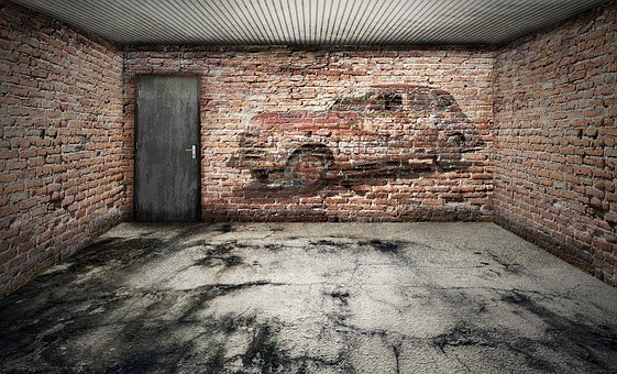 Space, Empty, Garage, Stone Floor, Ailing, Bricks, Wall