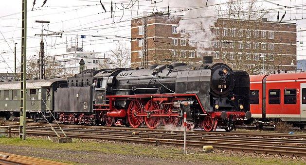 Steam Locomotive, Exit, Railway Station, Express Train