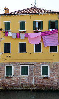 Laundry, Clothes Line, House Facade, Purple, Yellow