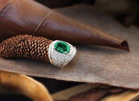 Ring, Emerald, Gold, White, Nature, Diamond, Brilliant