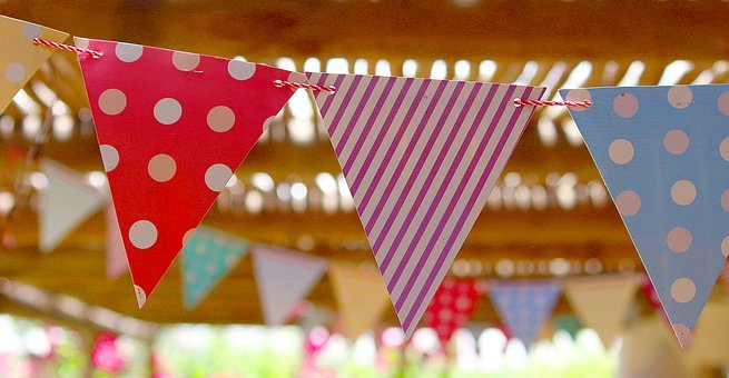 Flags, Pennant, Birthday Party, Summer, Out, Hot