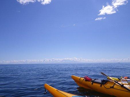 Kayak, River, Ocean, Canada, Water, Blue, Infinite Sky