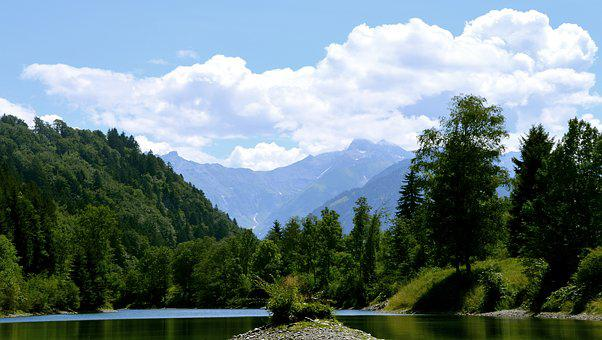 Auwaldsee, Forest, Lake, Pond, Mountains, Forest Glade