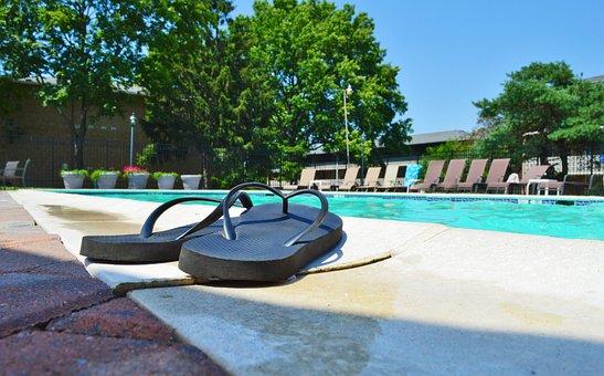 Flip Flops, Pool, Summer, Pool Side, Vacation, Holiday