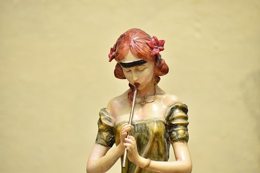 Pied Piper, Woman, Red Hair, Statue