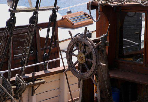 Ship, Sailing, Ship's Wheel, Boat, Sea, Sail, Water