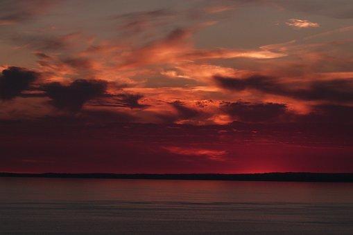 Sunset, Sky, Red, Sea, Ocean, Gower, Swansea, Wales