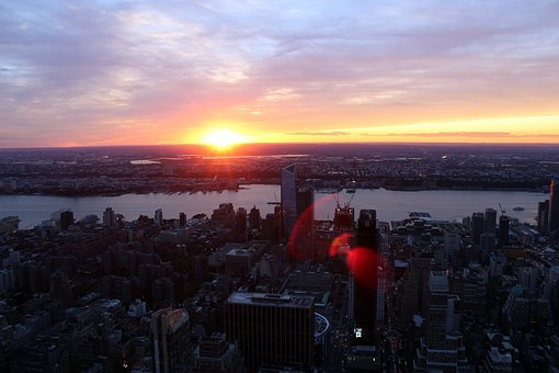New York, View, Skyscraper, Sunset, River, Skyscrapers