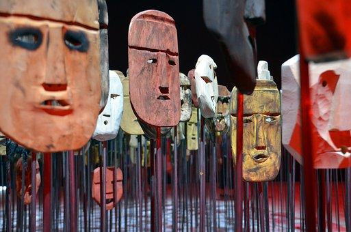 Faces, Masks, Heads, Wood, Carved, Art