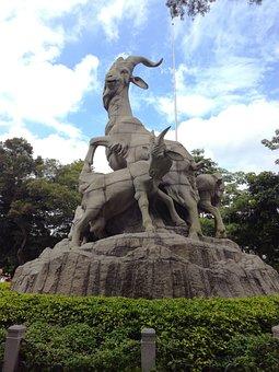 China, Canton, Yuexiu Park, Five-goat Statue, Blue Sky