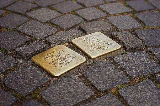 Stumbling Blocks, Memorial Tablets, Brass Plaque, Art