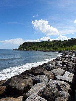 Bay, Scarborough, Sunshine, Cloud, Castle, Rocks, Sea