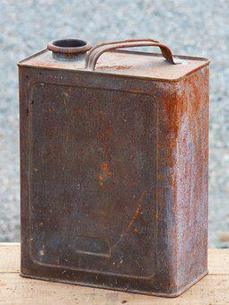 Drum, Can, Fuel, Gasoline, Tin, Vintage, Old, Rusty