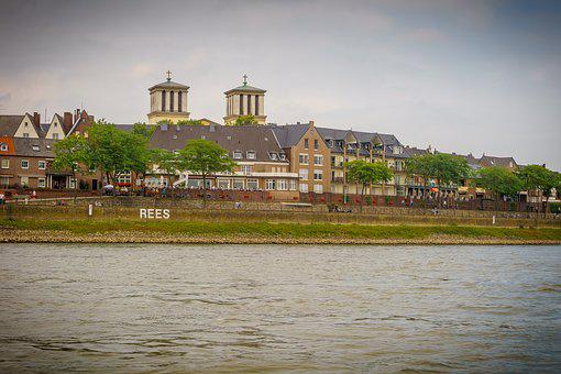 Rees, City, Rhine, Church, Water, River, Rhine Panorama