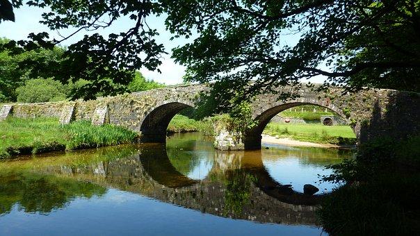 England, Bridge, Old, River, Nature