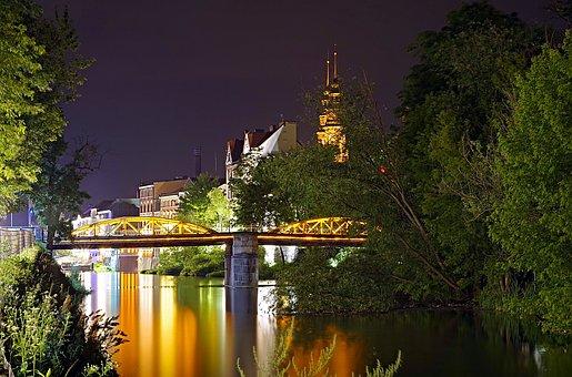 Bridge, Night, River, Water, Opole, Poland, Tree