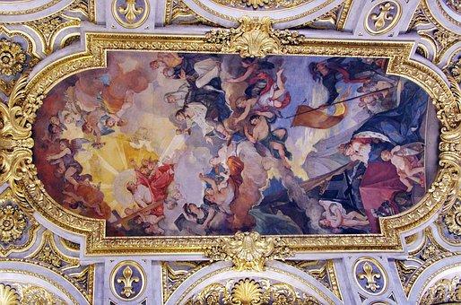 Italy, Rome, Church, St-louis-des-français, Ceiling