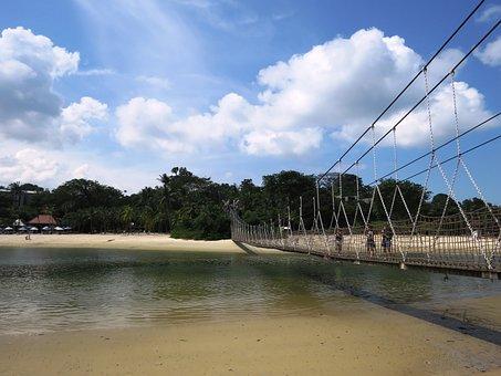 Sentosa Beach, Singapore, Rope Bridge, Island, Coast
