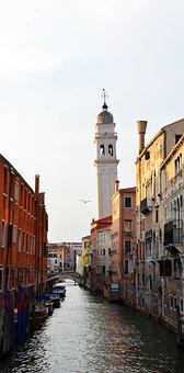Leaning Tower, Tower, Venice, Channel, Building, Italy