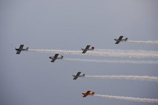 Airshow, Airborne, Flight, Planes, Propellers, Cloud