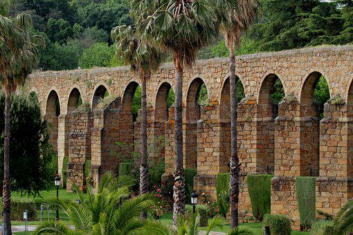 Aquaduct, Plasencia Spain, Roman, Ancient, Palm Trees