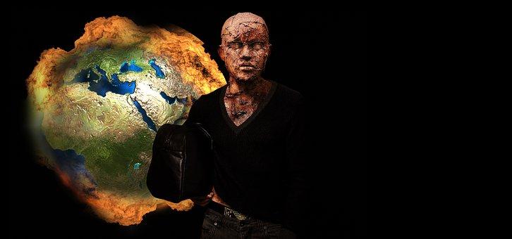 Apocalypse, Fireball, Fire, Man, Model, Art, Sculpture