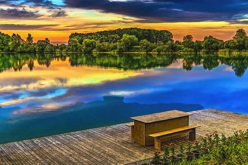 Sunset, Lake, Abendstimmung, Clouds, Romance, Nature