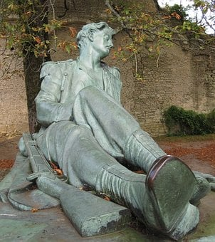 Monument, Soldier, Dying, Sculpture, Bronze, Emotion