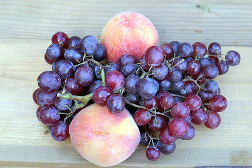 Fruit, Fresh, Grapes, Peaches, Bunches Of Grapes