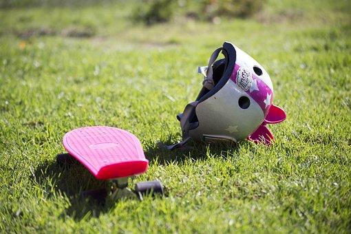 Skateboard, Helmet, Pink, Grass, Sport, Active, Skate