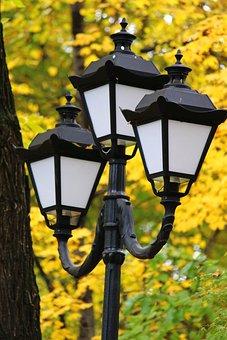 Lantern, Park, Autumn, Russia, Lights, City, Trees