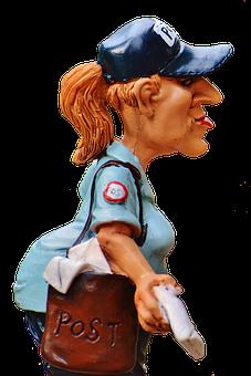 Mailwoman, Figure, Funny, Decoration, Post, Letters
