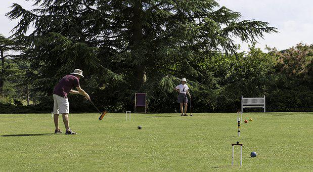 Croquet Competition, Players, Mallet, Striking Ball