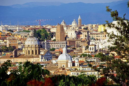 Rome, Landscape, Domes, Towers, Monuments, Italy
