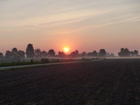 Sunrise, Fog, Landscape, Morgenstimmung, Nature, Sun