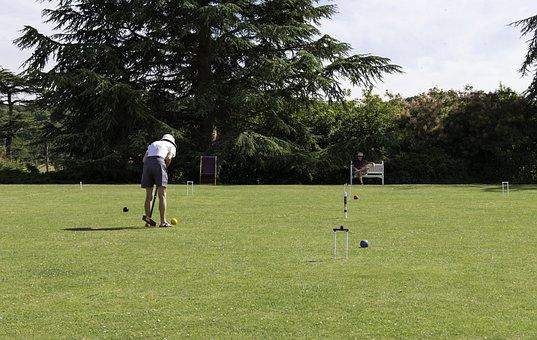 Croquet, Player, Lawn, Mallet, Ball, Hoops, Summer